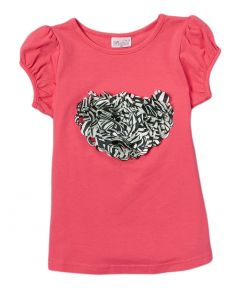 Wenchoice Girls Hot Pink Zebra Heart Crewneck Short Sleeve Shirt 4-8