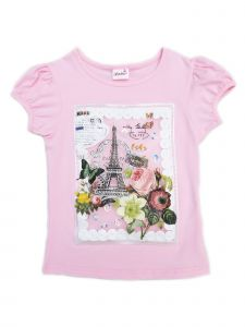 Wenchoice Girls Pink Paris Framed Applique Short Sleeved T-Shirt 9M-8