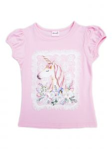 Wenchoice Girls Pink Unicorn Framed Applique Short Sleeved T-Shirt 9M-8