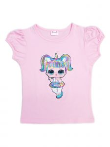 Wenchoice Girls Pink Unicorn LOL Sequins Short Sleeve Shirt 24M-10