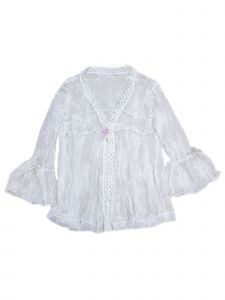 Wenchoice Girls White Lace Trim Bell Sleeve Wrap Top 24 Months-6