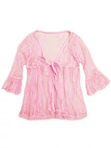 Wenchoice Girls Pink Lace Trim Bell Sleeve Wrap Top 24 Months-6