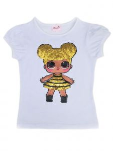 Wenchoice Girls White LOL Queen Bee Sequins Short Sleeve Shirt 24M-10