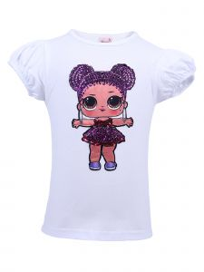 Wenchoice Girls White LOL Purple Queen Sequins Short Sleeve Shirt 24M-10