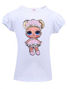 Wenchoice Girls White Flower Child LOL Sequins Short Sleeve Shirt 24M-10