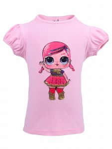 Wenchoice Girls Pink Super Baby LOL Sequins Short Sleeve Shirt 24M-10