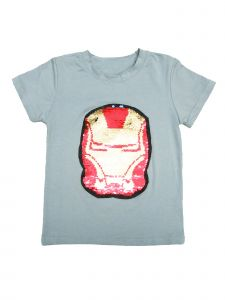 Wenchoice Little Kids Unisex Grey Flip Sequins Iron Man Short Sleeved T-Shirt 18M-2T