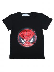 Unisex Black Flip Sequins Spiderman Captain America T-Shirt 4-10