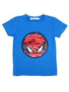 Unisex Multi Color Flip Sequins Spiderman Captain America T-Shirt 18M-10
