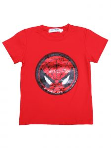 Unisex Kids Red Flip Sequins Spiderman Captain America T-Shirt 18M-8