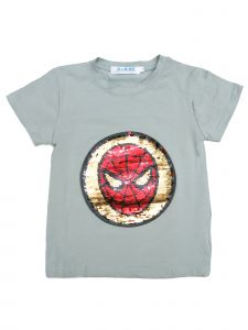 Wenchoice Unisex Grey Flip Sequins Spiderman Short Sleeve T-Shirt 4-10