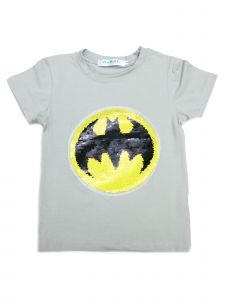 Wenchoice Unisex Grey Flip Sequins Batman Superman Crewneck T-Shirt 4-10