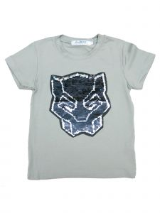 Wenchoice Little Kids Unisex Grey Flip Sequins Black Panther Crewneck T-Shirt 18M-2T