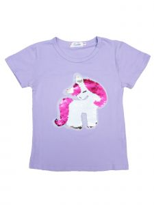 Wenchoice Girls Lavender Flip Sequins Unicorn Crewneck T-Shirt 4-10