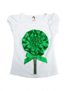 Wenchoice Girls White Green 3D Flower Short Sleeve Shirt 4-8