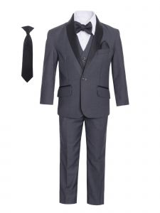Magen Kids Boys Charcoal Black Shawl Lapel Jacket 7 Pc Formal Suit 1-7 Years