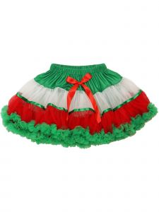 Wenchoice Girls Red White Green Panel Tie Accent Fluffy Pettiskirt 9M-8
