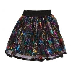 Girls Black Rainbow Spiderweb Print Halloween Skirt 12M-7