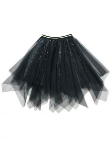 Wenchoice Girls Multi Colors Glitter Uneven Cut Overlaid Mesh Tutu Skirt 9M-8