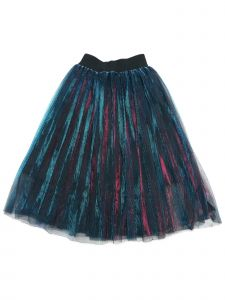 Wenchoice Girls Red Blue Shiny Pleated Elegant Long Dance Skirt 9M-8