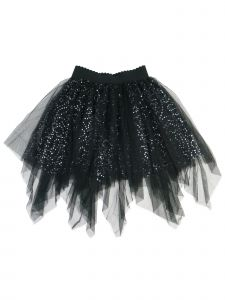 Wenchoice Girls Black Glitter Sequin Uneven Cut Mesh Tutu Skirt 9M-8