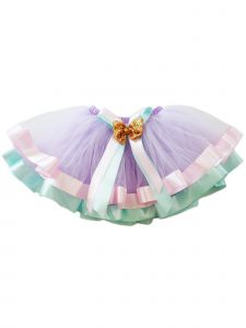 Wenchoice Girls Lavender Aqua Gold Sequin Bow Accent Tutu Skirt 9M-8
