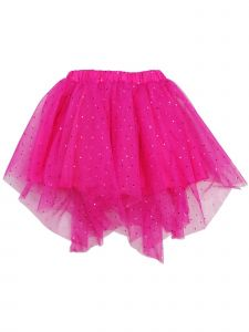 Wenchoice Girls Hot Pink Glitter Uneven Hem Overlaid Mesh Tutu Skirt 9M-8