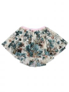 Wenchoice Little Girls Blue Brown Beige Lace Floral Print Hi Low Skirt 12M-6