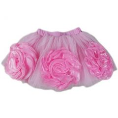 Wenchoice Girls Pink 3-D Flower Embellished Tutu Skirt S (9-24M)-XL (6-8)