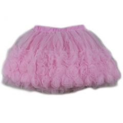 Wenchoice Girls Pink 3-D Rose Trim Embellished Tutu Skirt S (9-24M)-XL (6-8)