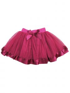 Wenchoice Girls Burgundy Ribbon Trim Elegant Ruffle Tutu Skirt 9M-8