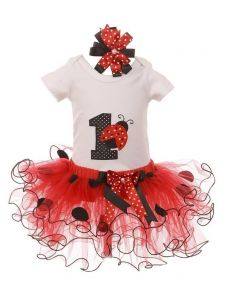 Baby Girls Red Ladybug Top Tutu Skirt Bow 3 Pc Birthday Set 1- 2