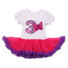 Little Girls White Purple Number Butterfly Applique Birthday Tutu Dress 3 Years