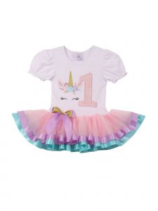 Girls White Pink Number Unicorn Banded Hem Tutu Birthday Dress 12M-3