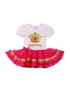 Girls Fuchsia Gold Trim Crown Applique Gathered Sleeve Tutu Dress 1T-6