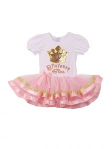 Girls Pink Gold Trim Crown Applique Banded Hem Tutu Birthday Dress 1T-6
