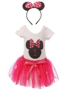 Baby Girls Fuchsia Mickey Mouse Top Tutu Skirt Bow 3 Pc Birthday Set 1- 2