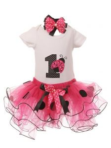 Baby Girls Fuchsia Ladybug Top Tutu Skirt Bow 3 Pc Birthday Set 1- 2