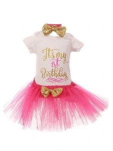 Baby Girls Fuchsia Gold Top Tutu Skirt Bow 3 Pc Birthday Set 1- 2