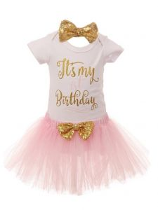 Baby Girls Red Gold Top Tutu Skirt Bow 3 Pc Birthday Set 1- 2