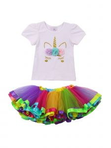 Girls Multi Color Flower Applique Rainbow 2 Pc Tutu Skirt Outfit 1T-6