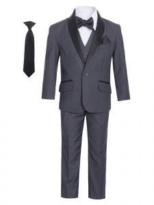 Little Boys Charcoal Satin Shawl Collar 7 Pcs Special Occasion Tuxedo 6