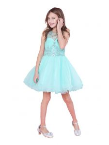 Big Girls Aqua Bejeweled Top Tulle Wired Trim Junior Bridesmaid Dress 6-18