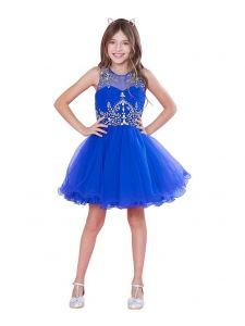 Big Girls Royal Blue Bejeweled Top Tulle Wired Trim Junior Bridesmaid Dress 6-18