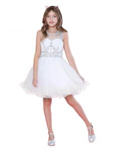 Big Girls White Bejeweled Top Tulle Wired Trim Junior Bridesmaid Dress 6-18