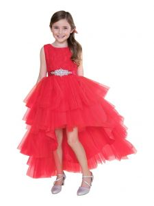 Big Girls Red Lace Tulle Jeweled Waist Hi-Low Junior Bridesmaid Dress 8-16