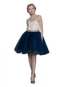 Calla Collection Girls Nude Navy Beaded Special Occasion Dress 6-18