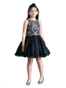 Calla Collection Girls Multi Color Glitter Jeweled Top Ruffle Party Dress 6-18