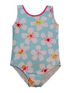 Big Girls Blue White Aloha Floral Print Jacen One Piece Bathing Suit 7-16