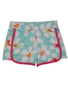 Big Girls Blue White Aloha Floral Print Riley Lined Sport Swim Shorts 7-16